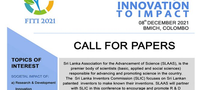 """SLAAS / SLIC Conference on """"From Innovation To Impact""""-2021 (FITI – 2021)."""
